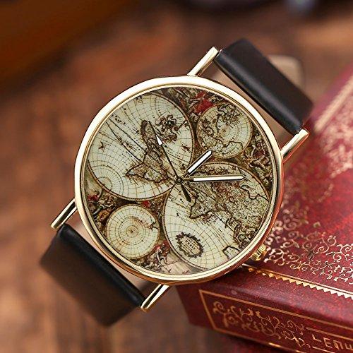 Vintage Uhren Damen : jsdde damen m dchen uhren vintage weltkarte quarzuhr armbanduhr plus infinity wickelarmband ~ Watch28wear.com Haus und Dekorationen