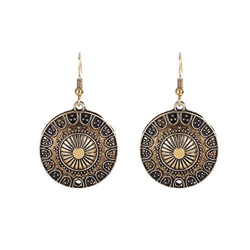 Lureme Ethnisch Schmuck Antique Gold Runden Shaped Pendant Hook Ohrringe for Women and Mädchen (02004293-2)
