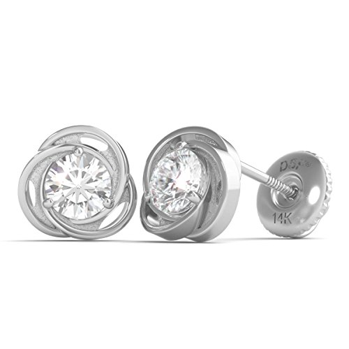 Diamond Studs Forever - Solitaire-Ohrstecker - 0,5 ct. Diamanten GH/I1 - Weißgold 14 K