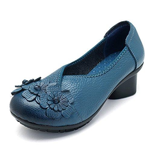 Socofy Damen Pumps, Damen Leder Slipper Klassische Pumps Blume Loafers Metallic Party Schuhe Leder-Optik Ballerinas Vintage Halbschuhe Slip-Ons Herbstschuhe Blau 40