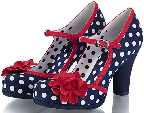 Ruby Shoo Damen Schuhe Hannah Punkte Rosen Pumps Blau 39 - 2