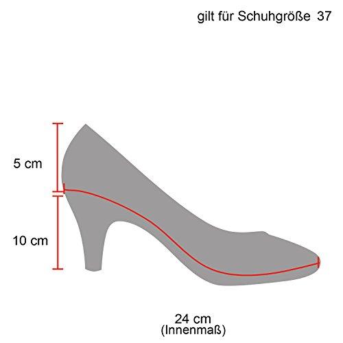 Damen Pumps T-Strap Spitze High Heels Riemchenpumps Stilettos Zierperlen Nieten Schuhe 142101 Schwarz Total Schnalle 39 Flandell - 4