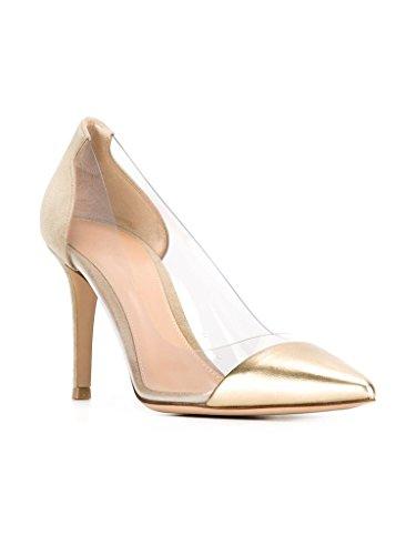 Kolnoo 80mm Damen Transparent Pumps Stiletto Schuhe Gold Größe EU45 - 2