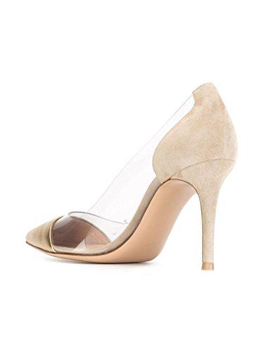 Kolnoo 80mm Damen Transparent Pumps Stiletto Schuhe Gold Größe EU45 - 3
