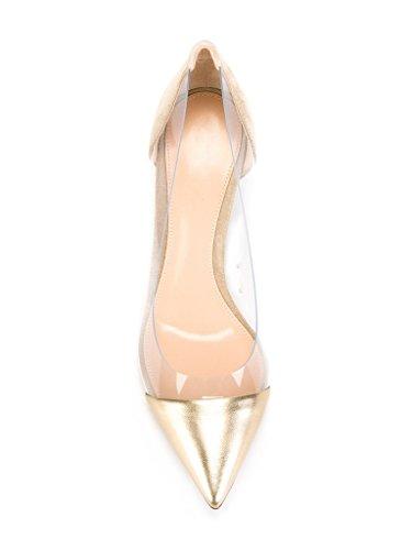 Kolnoo 80mm Damen Transparent Pumps Stiletto Schuhe Gold Größe EU45 - 4