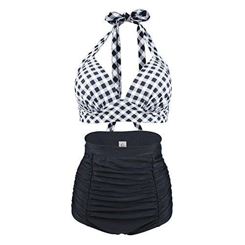 ERWAA Damen Bikini Set Badeanzug Bademode Bauchweg Vintage Hohe Taillen Neckholder Karierter Schwimmanzug, Schwarz Rot, - L(EU36/38)