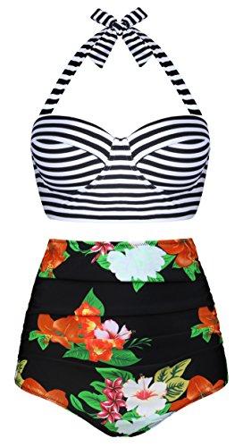 Aixy Frauen Vintage Blumendruck Hoch Taille Halter Neck Bademode Bikini Zwei Stück