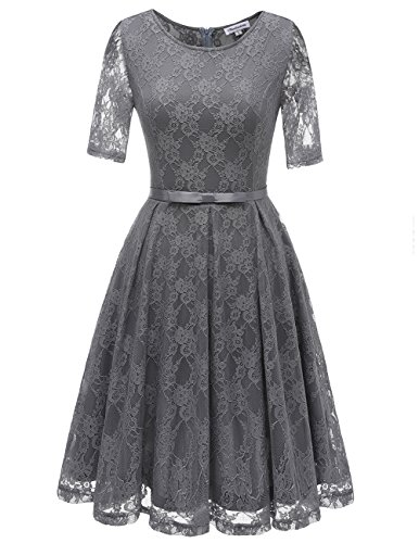 Bbonlinedress Damen Retro Vintage 1950er Rockabilly Cocktail Spitzenkleid Grey 2XL
