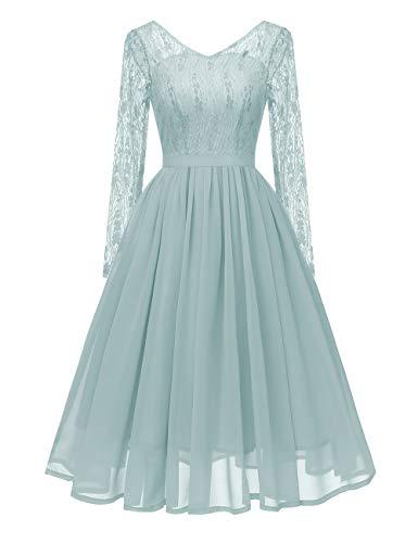 VKStar® 50er Rockabilly Kleid Polka Dots Petticoat Punkte Vintage ärmellos Abendkleid Grün S