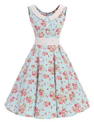 VKStar Retro Kleider Damen 50er 60er Vintage Kleider sommer ärmellos Rockabilly Abendkleid Hellgrün S