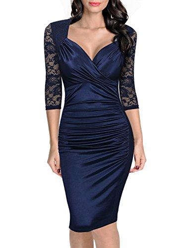 Miusol Damen Elegant Sommer Kleid Spitzen 3/4 Arm Wickelkleid Cocktailkleid Blau Gr.S-XXL