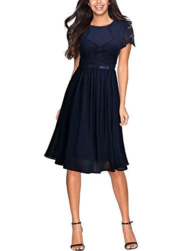 Miusol Damen Sommer Chiffon Festlich Kleid Cocktailkleid Vintage Abendkleid