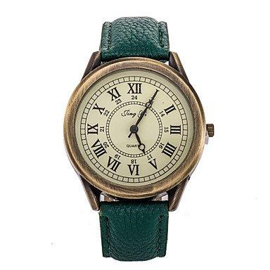 Herren / Damen Modeuhr Quartz Armbanduhren für den Alltag Leder Band Vintage Schwarz / Rot / Braun / Grün Marke