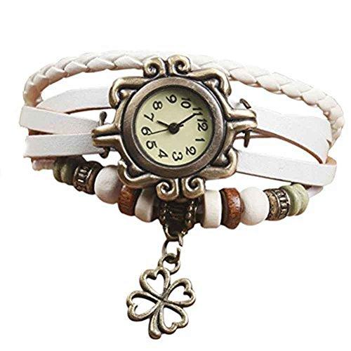 Demarkt Retro Vintage Klee Design Damen Armbanduhr Armreif Uhr Anhänger Spangenuhr Quarzuhren (Weiß)