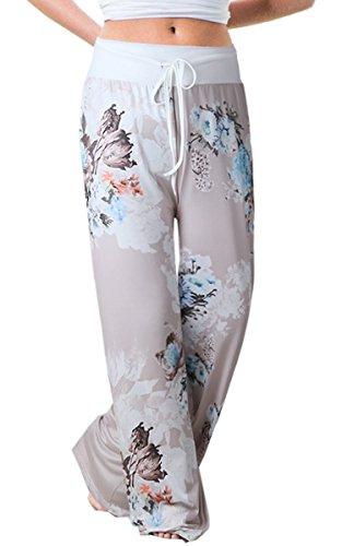 Angashion Damen Blumenmuster Weite Bein Lange Hose, Grau0447, EU M(36)