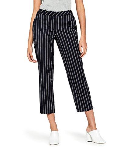FIND Damen Hose mit Streifen und Weitem Bein, Blau (Navy), 38 (Herstellergröße: S)