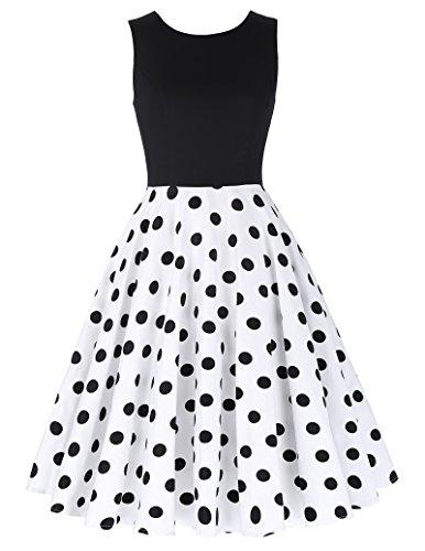 50er jahre kleid vintage rockabilly kleid partykleider hepburn stil polka dots kleid damen swing kleid XL CL0463-2
