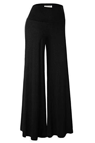 BAISHENGGT Damen Lange Stretch Lagenlook Hose im Marlene-Stil Schwarz L