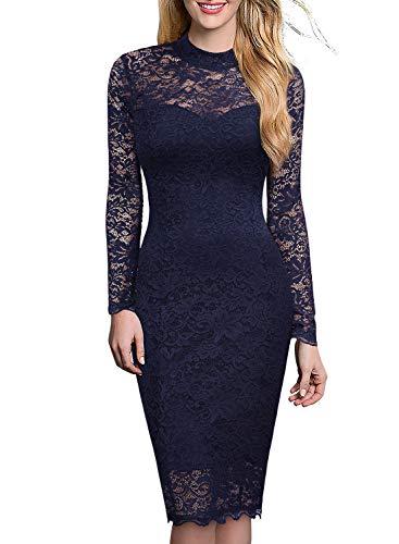ᐅ Miusol Spitzen Kleid, Damen Elegant Knielanges Langarm ...