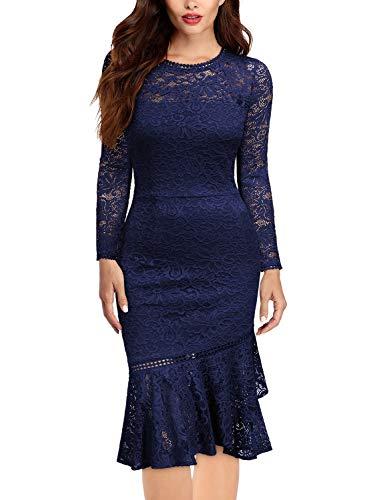Miusol Damen Elegant Spitzen Cocktailkleid Party Kleid Rundhals Knielanges Lange Ärmel Asymmetric Abendkleider Navy Blau L