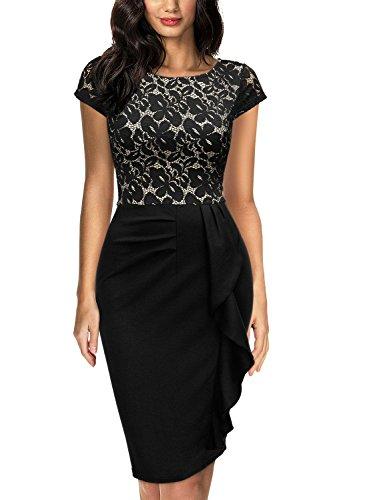Miusol Damen Spitzenkleid Etuikleid mit Falte Cocktail Pencil Kleid Schwarz Gr.XL