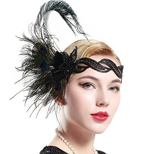 BABEYOND Damen 1920s Stirnband Pfau Feder 20er Jahre Stil Flapper Haarband Inspiriert von Great Gatsby Damen Kostüm Accessoires (Stil 4)