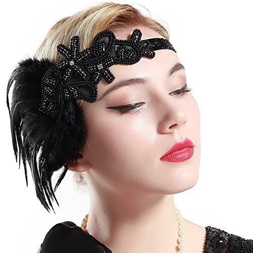 BABEYOND 1920s Feder Stirnband Retro 20er Jahre Haarband Flapper Stirnband Damen Great Gatsby Kostüm Accessoires
