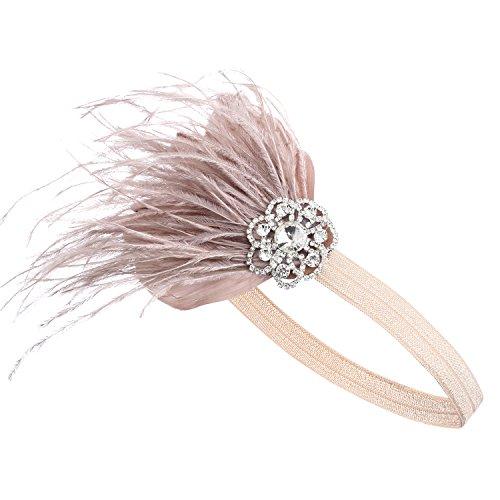BABEYOND 1920s Feder Stirnband 20er Jahre Stil Art Deco Flapper Haarband Great Gatsby Stirnband Damen Kostüm Accessoires (Aprikose mit elastischem Band)