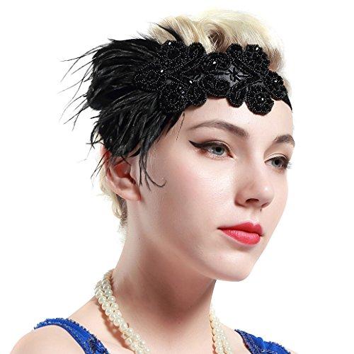 BABEYOND 1920s Stirnband Feder Flapper Stirnband 1920er Jahre Haarband Große Gatsby Stil Accessoires Damen Retro Stirnband