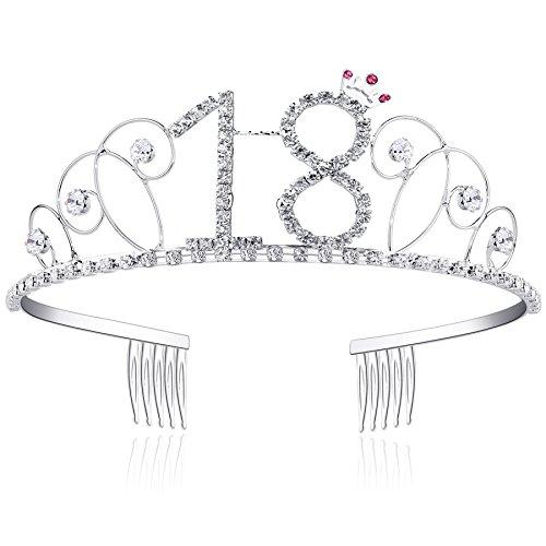 BABEYOND Kristall Geburtstag Tiara Birthday Crown Prinzessin Kronen Haar-Zusätze Silber Diamante Glücklicher 18/20/21/30/40/50/60 Geburtstag (18 Jahre alt)