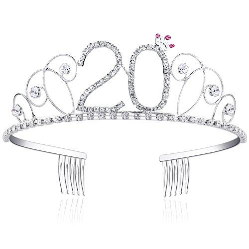 BABEYOND Kristall Geburtstag Tiara Birthday Crown Prinzessin Kronen Haar-Zusätze Silber Diamante Glücklicher 18/20/21/30/40/50/60 Geburtstag (20 Jahre alt)