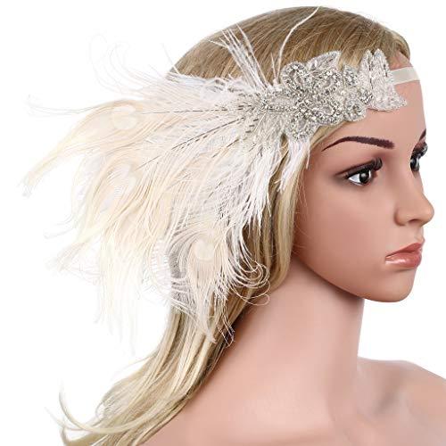 Babeyond Damen Stirnband Flapper 1920s Stil Stirnband mit weisser Pfau Feder Inspiriert von Der Große Gatsby Party Accessoires für Damen Einheitsgröße