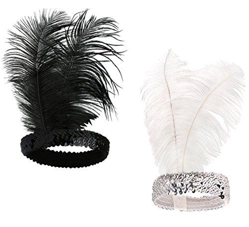 Babeyond® 1920s Stil Stirnband mit schwarzer und weißer Feder Inspiriert von Der Große Gatsby Accessoires für Damen Freie Größe (enthält zwei Stirnbänder)