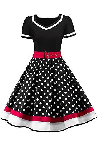 Retro 50er Rockabilly Kleid Petticoat Kleider Retro Kleid Petticoat Faltenrock Kleider Schwaru