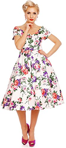 Dolly and Dotty Damen Kleid Lielly Blume Kurzarm Swing Dress