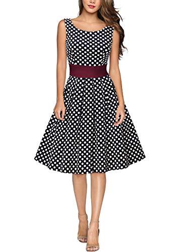 Miusol Damen Rundhals  Kleid 1950er Retro Polka Dots Cocktailkleid Faltenrock