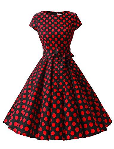 Dressystar Vintage Kleid 50er Jahre Rockabilly Swing Schwarz Rot Dot