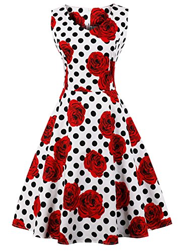FAIRY COUPLE 50er V-Ausschnitt Rockabilly Polka Blumen Jahrgang Kleid Cocktail DRT072(S,Weiße rote Blumen-Punkte)