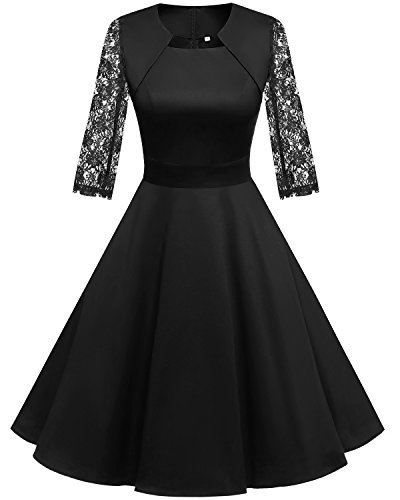 HomRain Damen 50er Vintage Retro Kleid Party Langarm Rockabilly Cocktail Abendkleider Black-1 XS