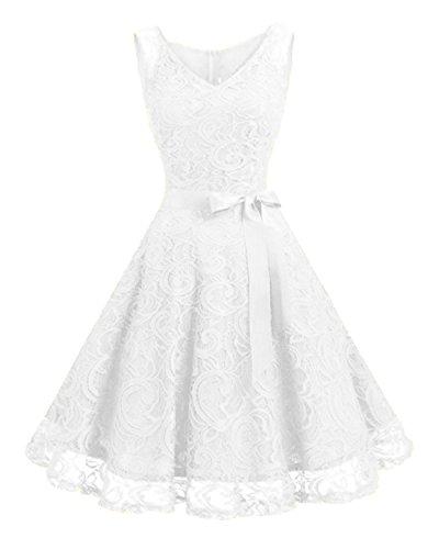 Kidsform Damen Spitzen Kleider Ärmellos V-Ausschnitt Partykleid 50er Jahre Abendkleider Cocktailkleid Elegant für Hochzeit Ballkleid Weiß EU 38-40/Etikettgröße M