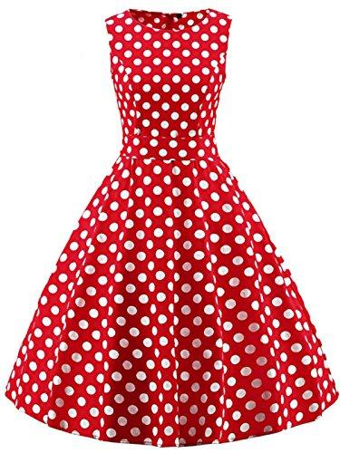FAIRY COUPLE 50s Retro Blumen Cocktail Schwingen Party Kleid mit Bogen DRT017(2XL,Rote weiße Punkte)