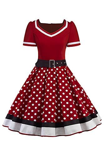 Misshow Swing Kleid Sommer Polka Dots Mädchen Kleider Tellerrock Damen, Weinrot - L