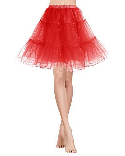 Gardenwed Kurz Damenrock 1950 Petticoat Reifrock Unterrock Tutu Minirock Ballett Tanzkleid Underskirt Crinoline für Rockabilly Kleid Red L