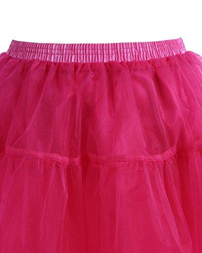 Gardenwed Kurz Damenrock 1950 Petticoat Reifrock Unterrock Tutu Minirock Ballett Tanzkleid Underskirt Crinoline für Rockabilly Kleid Red L - 3