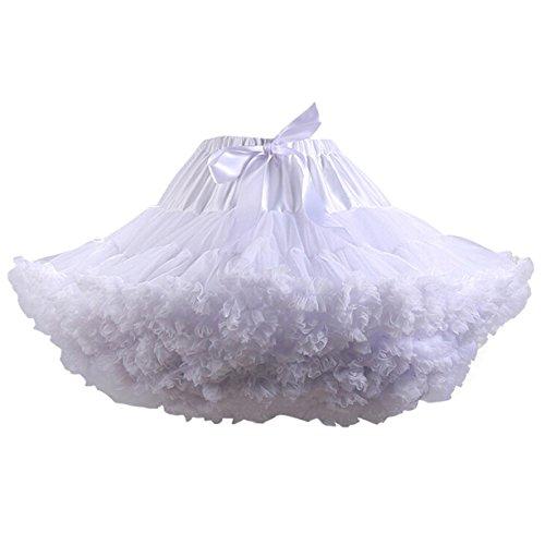 Caissen Damen Elastisch Puffy Tüll Tütü Röcke Petticoat Ballett Blase Ballkleid Bowknot Mehrfarbengroß Tanzrock Weiß