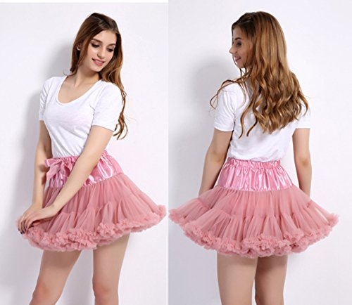 Caissen Damen Elastisch Puffy Tüll Tütü Röcke Petticoat Ballett Blase Ballkleid Bowknot Mehrfarbengroß Tanzrock Weiß - 2
