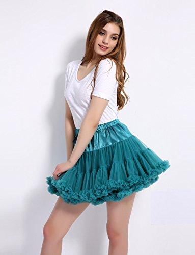 Caissen Damen Elastisch Puffy Tüll Tütü Röcke Petticoat Ballett Blase Ballkleid Bowknot Mehrfarbengroß Tanzrock Weiß - 4