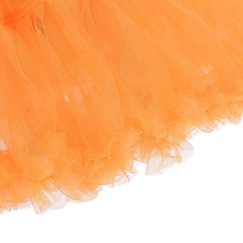 Caissen Damen Elastisch Puffy Tüll Tütü Röcke Petticoat Ballett Blase Ballkleid Bowknot Mehrfarbengroß Tanzrock Weiß - 7
