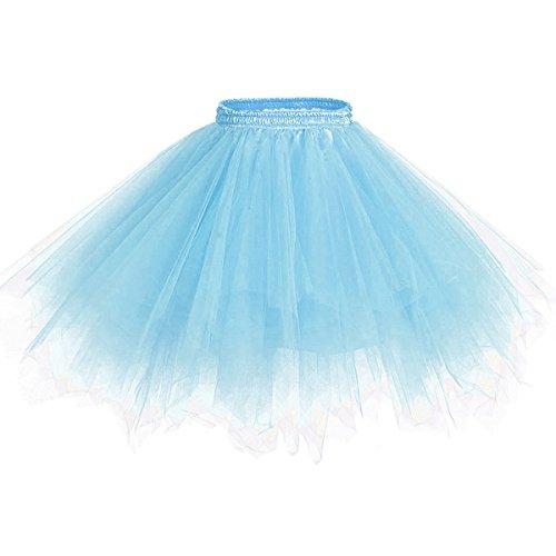 Caissen Damen Vintage Elastisch Puffy Tüll Tütü Röcke Petticoat Ballett Blase Ballkleid Mehrfarbengroß Unterröcke Hellblau