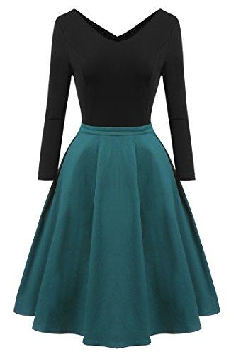 Zeagoo Damen Vintage 50er Jahre Kleid Rockabilly Cocktail Abendkleid Festliches Kleid 3/4 Ärmel V Ausschnitt A Linie Dunkelgrün XXL